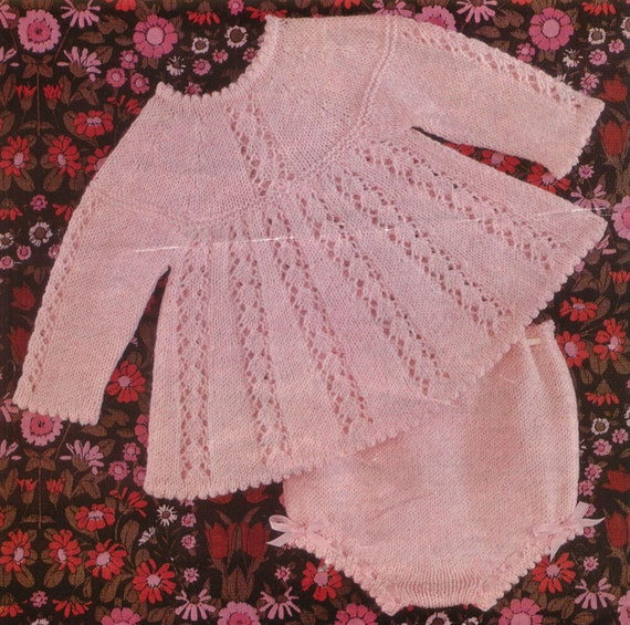 Knitting Vintage Things : Items similar to knit baby dress and knickers vintage
