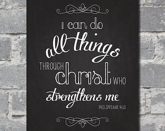 Philippians 4:13 Bible Verse (8x10) DIGITAL FILE