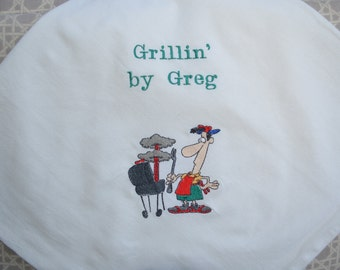 Personalized Machine Embroidered Kitchen Towel - BBQ Griller 1