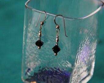 Sterling SIlver Crystal Earrings Black with hook