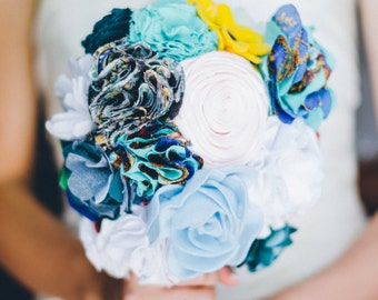 Bridal Bouquet with fabric flowers, Wedding, Bride, accesory