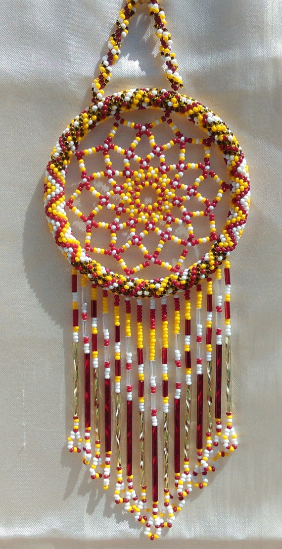 Washington Pro Football Team Czech glass seed Bead Dream-Catcher