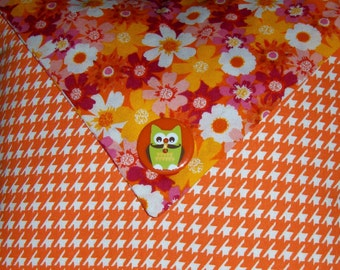 Orange Houndstooth Owl Button Pillow