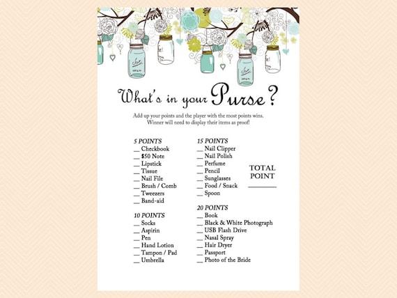 What S In Your Purse Purse Raid Purse Game Mason Jars