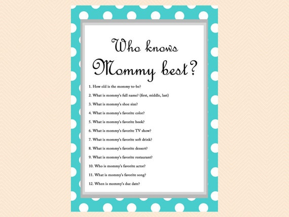 Turquoise Polka Dots Baby Shower Game Who knows Mom best Who