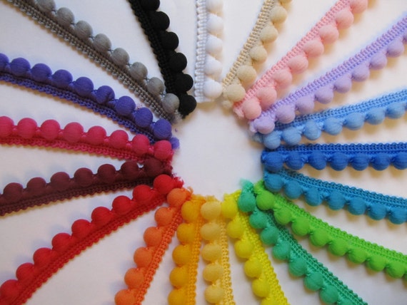 Fixed Pom Pom Trim 25 Metre Reel by RicketyRose on Etsy