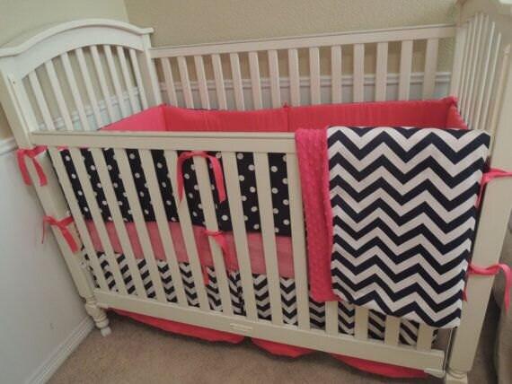 navy and pink baby bedding set. Black Bedroom Furniture Sets. Home Design Ideas