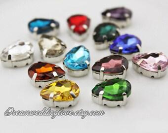 10*14mm Sew on Teardrop Rhinestones --15pcs beads Silvery set with 4 Hole Slider /Craft Supplies  Jewelry Making Wedding Supplies