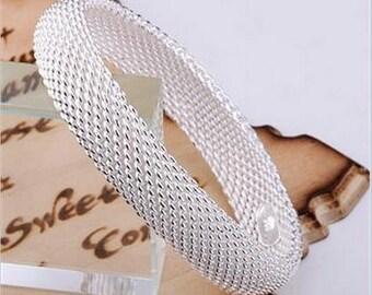 Silver mesh 925 Bracelet-Free Shipping