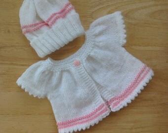 Baby cardigan and hat/preemie/newborn