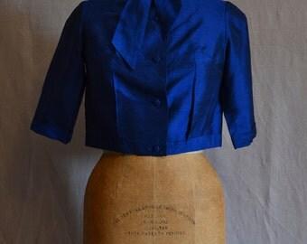 1960s raw silk short evening jacket