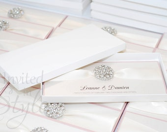 Boxed wedding invitation-trifold design with large crown brooch - PERSONALISED SAMPLE