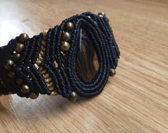 Black macrame bracelet with stromalite stone