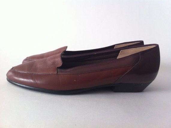 minimalist brown leather loafers size 7 shoes 90s by