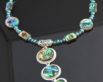 Handmade New Zealand abalone shell gemstone beads necklace