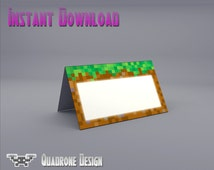 Minecraft Party Food Tent Cards, Name Tent Cards, Printable, Instant Download, Party Supplies, Decorations