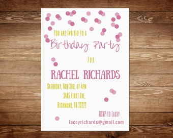 Girl Birthday Invitations - Girl Birthday Invitation Template - Girl Birthday Party Invitation