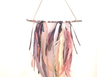 Natural Boho Wall Hanging with Feathers, Lace and Crystals