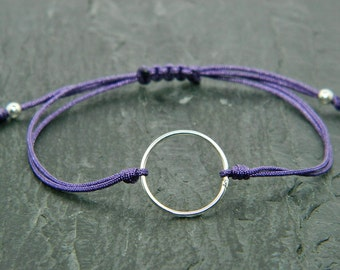 Karma bracelet. Good luck bracelet.Sterling silver bracelet.Tiny silver bead bracelet.Friendship bracelet.Cord bracelet.String bracelet.C002