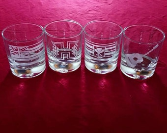 Etched Whisky Glasses. Set of 4. Hawaiian Style.