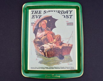 "Norman Rockwell Saturday Evening Post  ""Gone Fishing"" Vintage Tin Tray"