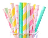 Short Mint Pink Yellow Paper Straws, 50 SUMMERTIME Cake Pop Party Birthday Baby Shower Cocktail Straw 5""