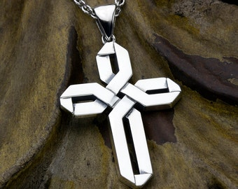 Sterling Silver Wide Weave Christian Cross Necklace Pendant