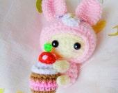 Amigurumi crochet doll mini bunny and cake keychain,bag charm,hanging string