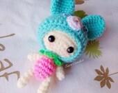 Crochet doll bunny and strawberry,amigurumi keychain,bag charm,hanging string