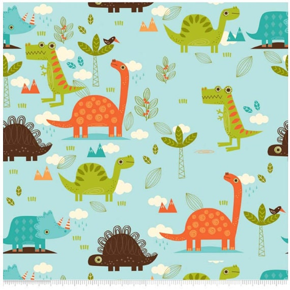 dinosaur fabric cotton riley blake boys fabric by nowfabrics