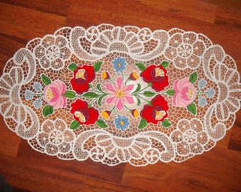 Handmade Hungarian Lace Richeliu- Folk Embroidery from Hungary