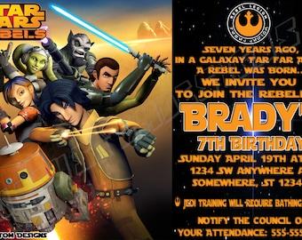 Custom Birthday Invitations, Star Wars Rebels Invitations, Printable Invitations, Star Wars Rebels