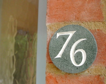 Hand-carved circular stone & slate house numbers