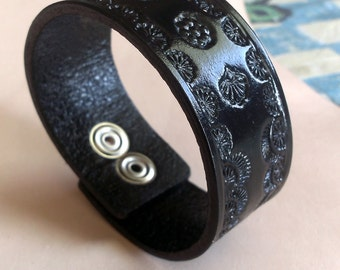 Black Leather Cuff Bracelet With Pattern