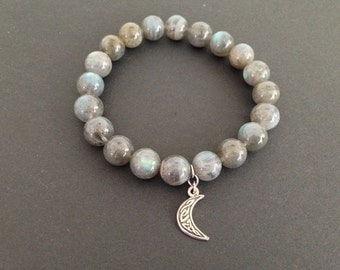 AAA Grade Labradorite gemstone beaded bracelet with crescent moon charm