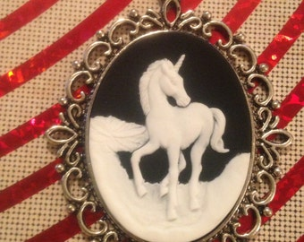 White and Black Unicorn Cameo Necklace