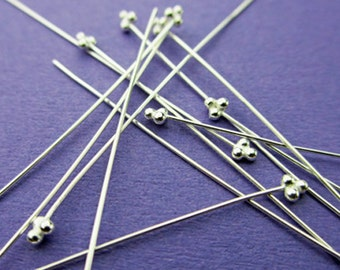 New 51mm 24 gauge 925 Sterling Silver Triple Ball Ended Headpins 6pcs.