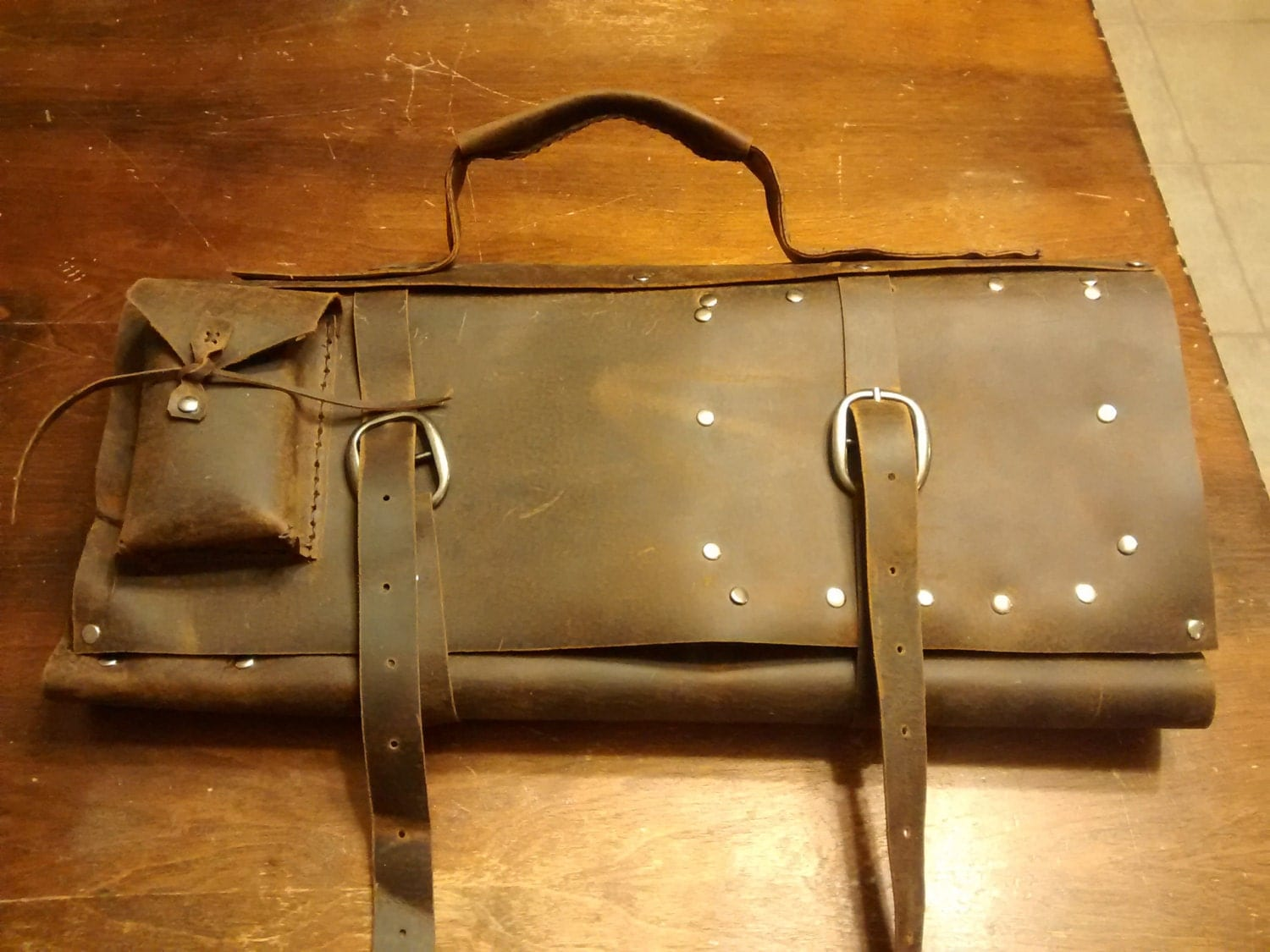 distressed leather chef knife bag. Black Bedroom Furniture Sets. Home Design Ideas