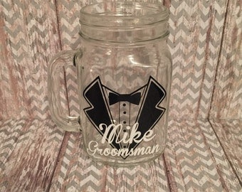 Groom or Groomsman Mason Jar Glass Mug - tux