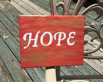 """Inspirational Word on Canvas- """"HOPE"""""""