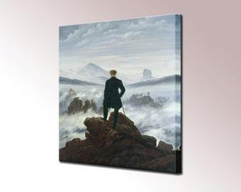 Wanderer above the sea of fog Caspar David Friedrich Canvas Wall Art Print Picture Framed Ready To Hang Decor