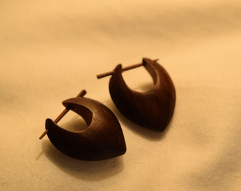 Hand Carved Wood Tribal Earrings