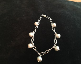 Sterling link bracelet freshwater pearl drops