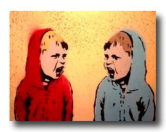 "Canvas 11"" x 14"" Twin Brothers ""Sibling Rivalry"" Kids Pop Art Custom Painting"