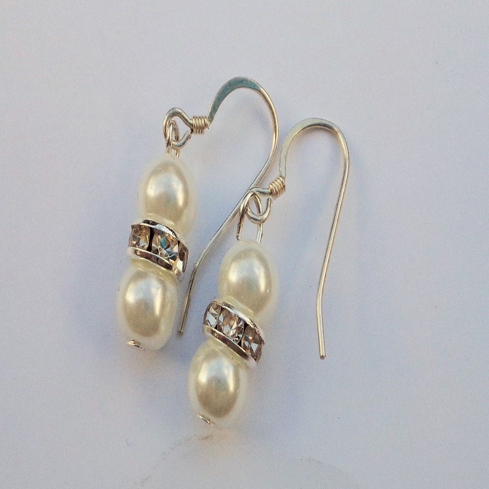 wedding pearl earrings with diamante spacers which silver