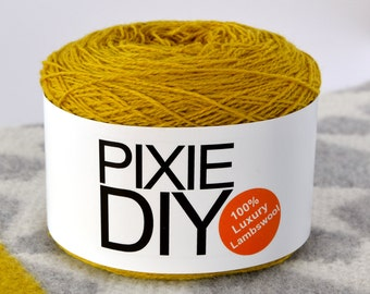 Oiled Crochet Yarn,Hand Knitting,Machine Knitting,Oiled wool,Felting wool,felting yarn,felting wool yarn,gift for knitter,Acid Yellow