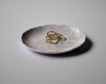 Handmade Clay Marble Jewellery Dish - Purple, White, Peach & Silver