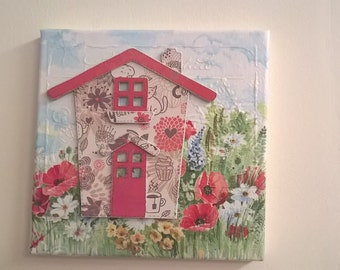 Decoupage Canvas with Paper piece house