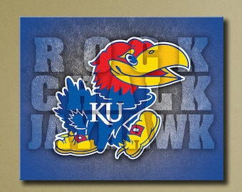 Kansas University Jayhawks ROCK CHALK JAYHAWK Canvas Wall Art, Grunge Chant Design, 16x20 stretched canvas sports decor