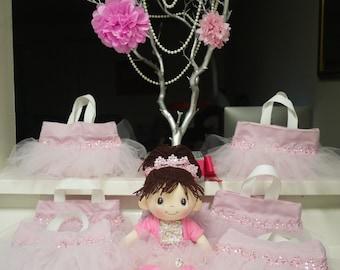 Ballerina pink tutu tote party favor bags